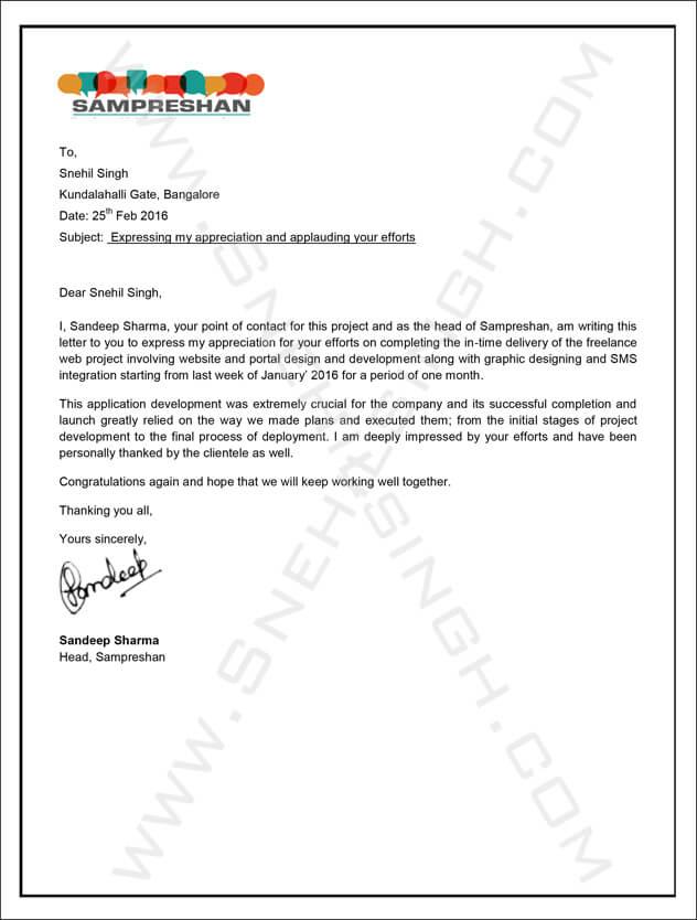Snehil Singh Sampreshan Recommendation Letter